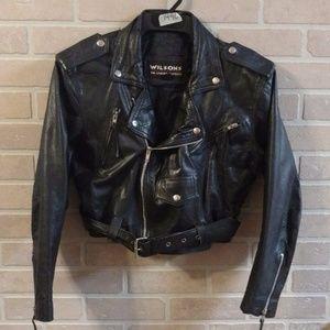 Vtg 80's WILSONS Black Leather Motorcycle Jacket